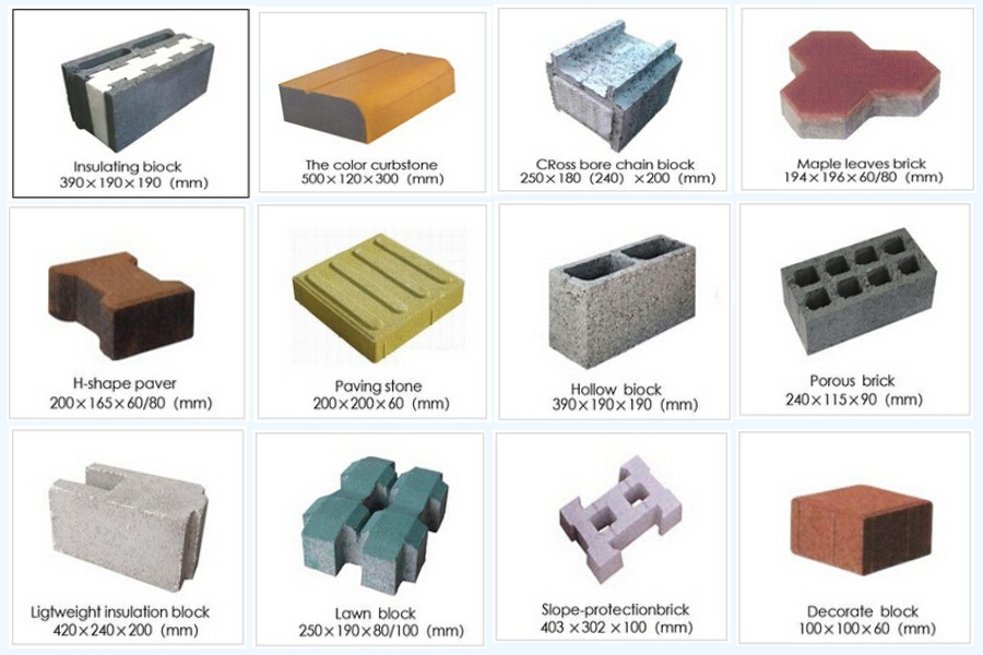 different shapes of bricks