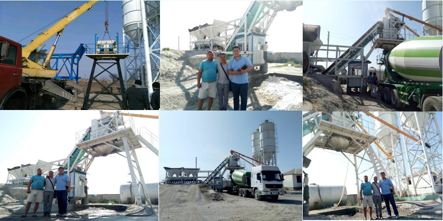 AJY-35 mobile concrete plant works in Pakistan