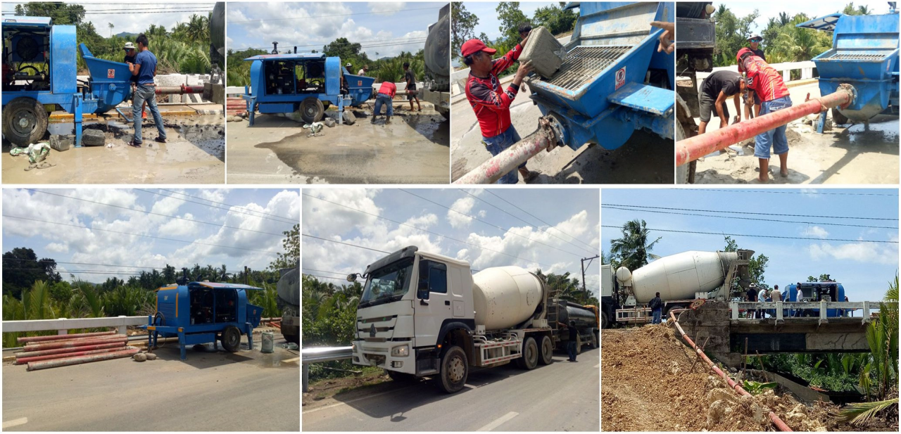 trailer concrete pump works in Indoneisa
