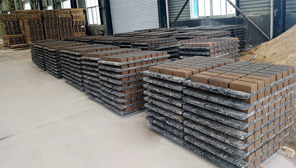 Finished production bricks in our factory
